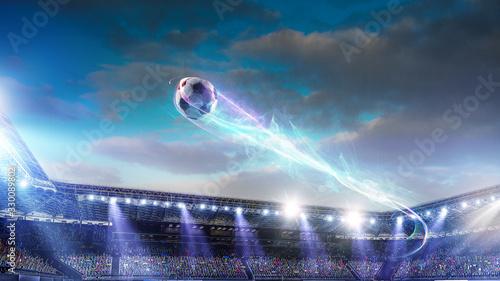 Obraz Football stadium background with flying ball - fototapety do salonu