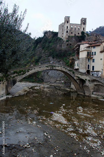 Dolceacqua (IM), Italy - December 19, 2017: View of Dolceacqua village with the Tablou Canvas