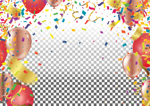 Photo Birthday party festive Bright Background with Balloons