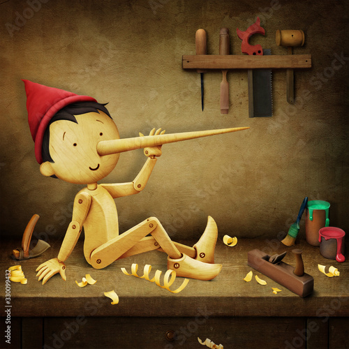 Fairy tale fantasy illustration about a wooden Pinocchio boy sitting on a joiner workbench Wallpaper Mural