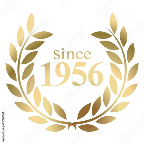 Photo Since year 1956 gold laurel wreath vector isolated on a white background