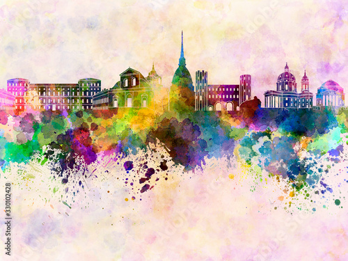 Fotografie, Obraz Turin skyline in watercolor background