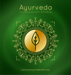 Panel Szklany Do Spa Ayurveda poster with ethnic patterns and sample text in gold tones on a green gradient backdrop for use as a template of banner, website or poster for ayurveda medicine center or product. Vector.