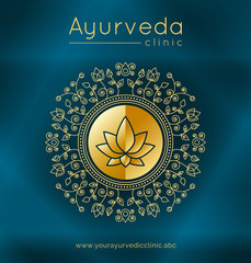 Fototapeta Do Spa Ayurveda poster with ethnic patterns and sample text in gold tones on a blue gradient backdrop for use as a template of banner, website or poster for ayurveda medicine center or product. Vector.