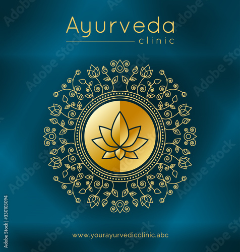 Photo Ayurveda poster with ethnic patterns and sample text in gold tones on a blue gradient backdrop for use as a template of banner, website or poster for ayurveda medicine center or product