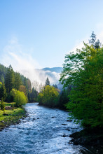 Mountain River On A Misty Sunrise. Amazing Nature Scenery With Fog Rolling Above The Trees In Fresh Green Foliage On The Shore In The Distance. Wonderful Countryside Landscape In Morning Light