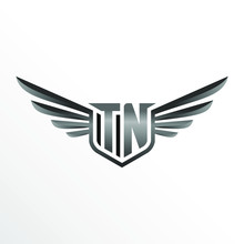 Initial Letter TN With Wings