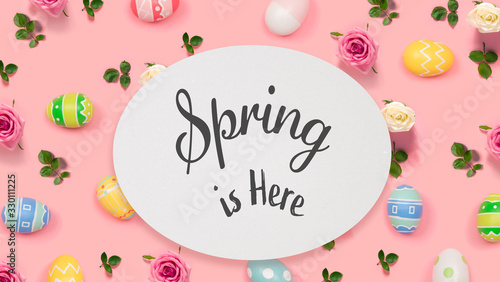 Obraz Spring is here message with Easter eggs on a pink background - fototapety do salonu