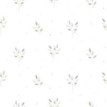 Floral Seamless Pattern With Tiny Branches. Vector White Neutral Background.