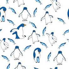 Seamless Penguin Pattern. Bird...