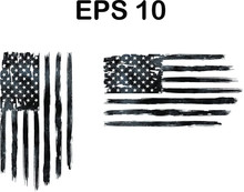 USA Flag, Watercolor Flag - Distressed American Flag, Usa Flags. EPS 10, Clip Art,