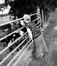 Woman Kissing Donkey While Standing By Pen At Farm