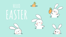 Draw Banner Rabbit In Hole On Green Pastel For Easter And Spring.