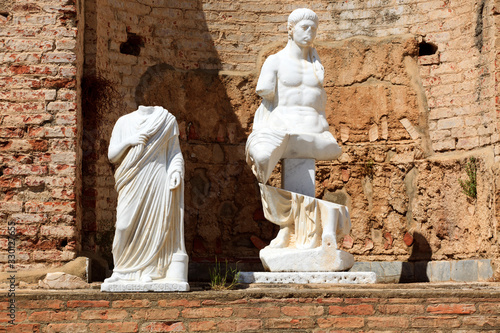 Roselle (GR), Italy - June 19, 2017: Etruscan ruins and statue in archaeological Wallpaper Mural
