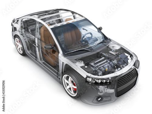 Fototapeta Transparent body car and interior parts obraz