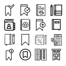 Set Of 16 Bookmark Outline Icons