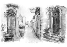 Vintage Old City Sketch Art Wa...