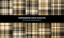 Plaid Pattern Set. Seamless Gold And Black Tartan Check Plaid Graphics For Flannel Shirt, Skirt, Blanket, Duvet Cover, Or Other Spring, Autumn, And Winter Fabric Prints.