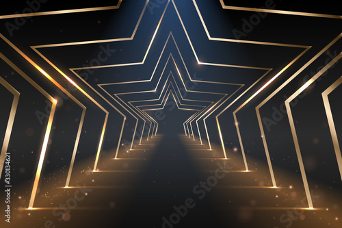 Photo Gold star arcs road with light effect