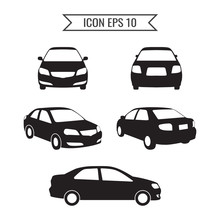 Car Icon Set Isolated On The W...