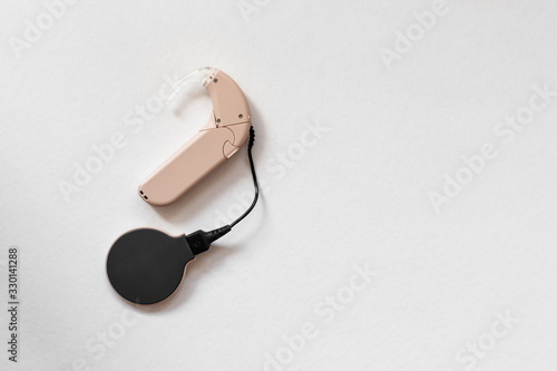 cochlear implant on the arm. hearing aid Canvas Print