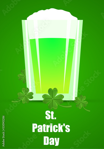 Photo Pint of Green Ale for St Patricks Day, vector art illustration.