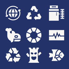 Set Of 9 Life Filled Icons
