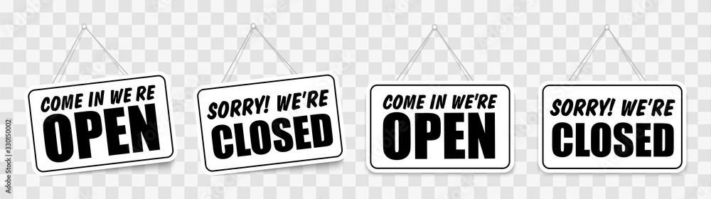 Fototapeta Come in we're open or closed in signboard with a rope on transparent background. Vector