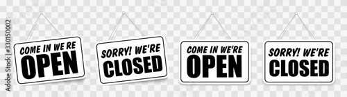 Cuadros en Lienzo Come in we're open or closed in signboard with a rope on transparent background