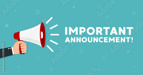 Photo Megaphone with Important Announcement. Vector flat