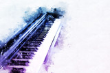 Abstract beautiful keyboard of the piano foreground Watercolor painting background and Digital illustration brush to art