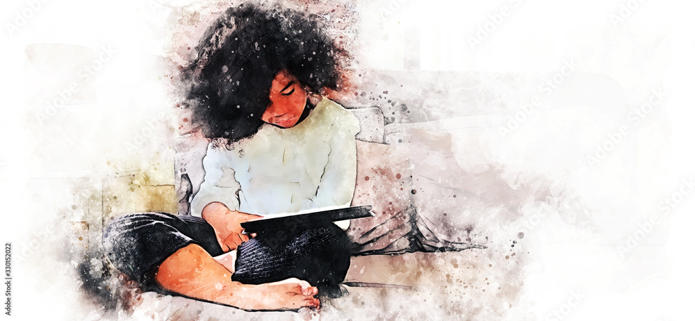 Abstract colorful kid girl reading tablet smart on bedroom on watercolor illustration painting background.