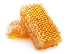Honeycomb With Honey On White ...