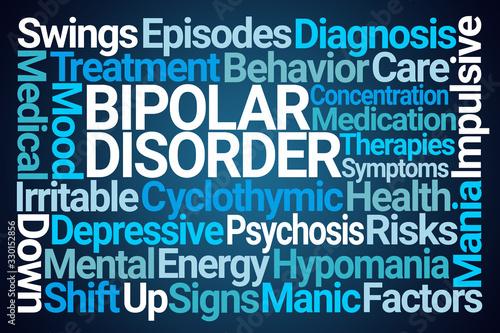 Bipolar Disorder Word Cloud on Blue Background Fototapet