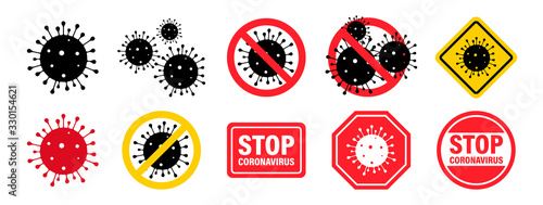 Obraz Coronavirus. Virus. Icons set.COVID-2019. Outbreak coronavirus. Pandemic, medical, healthcare, Stop Coronavirus concept. Corona virus 2019-nCoV. Vector illustration. - fototapety do salonu