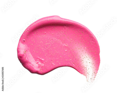 Gently pink strokes and texture of lip gloss or acrylic paint isolated on white Fototapet