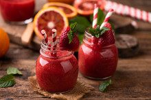 Strawberry Smoothie In Glass J...