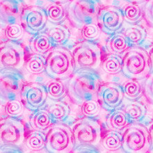 Watercolor Pink Spiral Abstract Background With Splashes, Drops. Hand-painted Texture. Seamless Pattern. Watercolor Stock Illustration. Design For Backgrounds, Wallpapers, Covers, Textile, Packaging.