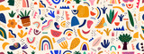 Fototapeta Abstrakcje - Decorative abstract seamless pattern with colorful doodles. Hand-drawn modern illustration