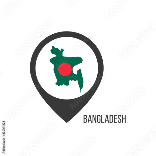 Map pointers with contry Bangladesh Wallpaper Mural
