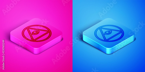 Isometric line Masons symbol All-seeing eye of God icon isolated on pink and blue background Tapéta, Fotótapéta