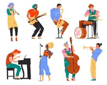 Vector Illustration Character Jazz Band Playing