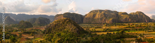 panoramic view of the valley of vinales cuba with mogotes and palm trees at suns Wallpaper Mural