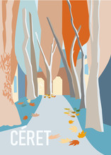 A Travel Poster Depicting A Small French Village Ceret In French Catalonia, Eastern Pyrenees