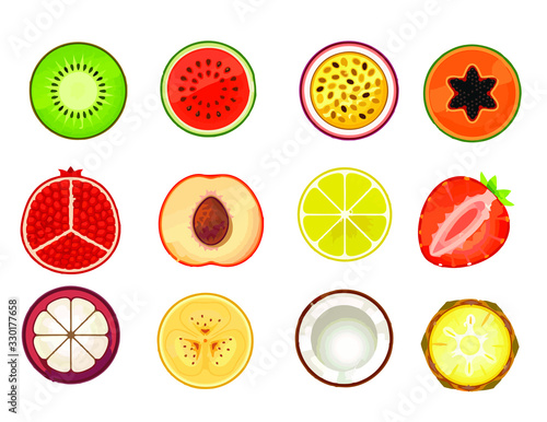exotic fruits on a white background Wall mural