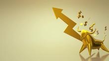 The 3d Rendering Gold Bull For...