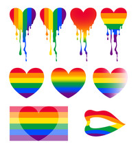 LGBT Rainbow Coloured Hearts, Vector Illustrations Set, Including Colourful Flag And Lips.