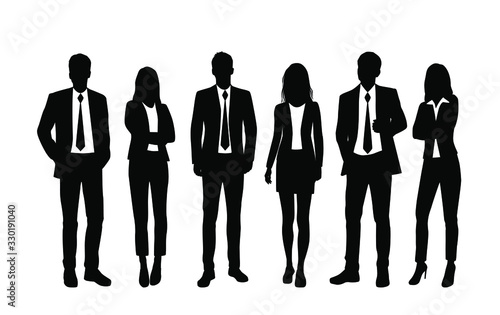 Fototapeta Vector silhouettes of  men and a women, a group of standing  business people, black and white color isolated on white background obraz