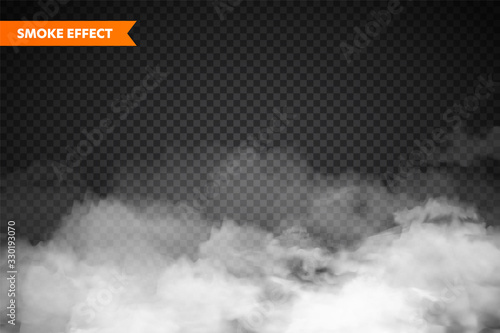 Fototapeta  Realistic fog, mist effect. Smoke isolated on transparent background. Vector vapor in air, steam flow. Clouds. obraz