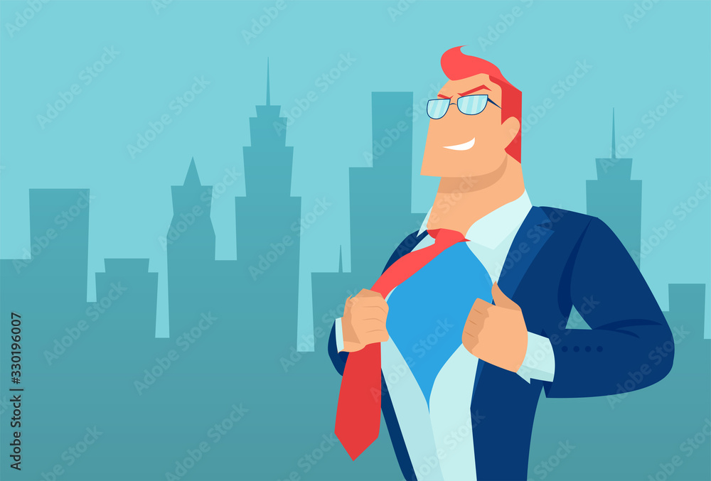 Fototapeta Vector of a super hero business man on a cityscape background